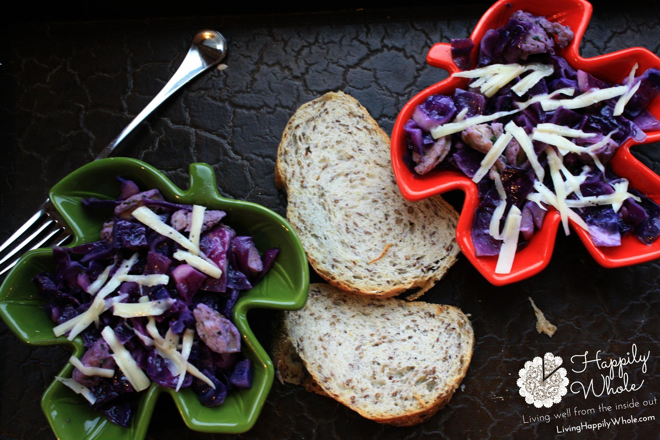 purple cabbage and chicken sausage