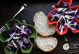 purple cabbage and chicken sausage