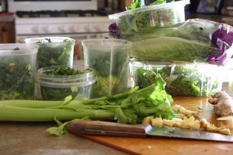 Individual containers with my green smoothie ingredients