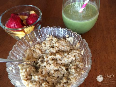 Steel cut oats, strawberries, peaches, peanut butter, green smoothie