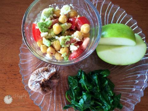 Healthy Lunch 2: Chickpea salad, avocado, tomato, feta cheese, greens