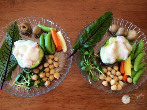 Healthy Lunch 1: Stuffed Avocado, cheese, ham, chick peas, greens