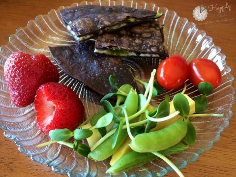 Healthy Lunch 3: Gluten Free Quesadillas, raw cheddar cheese, avocado, strawberries