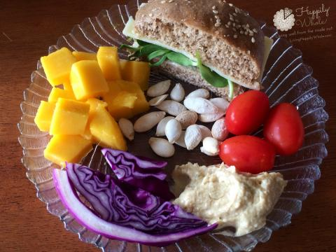 Healthy Lunch 4: Sandwich on sprouted wheat bun, mango, tomatoes