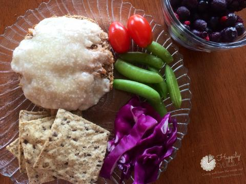 Healthy Lunch 6: Sprouted Grain English muffin, goat cheese, tuna, mixed berries,