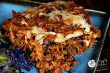 spaghetti squash, beef, cheese bake