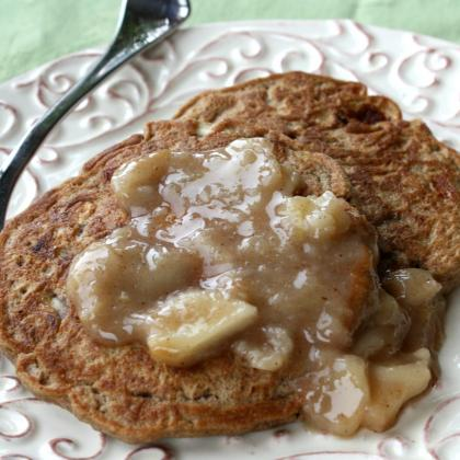 Apple pancakes with warm apple compote