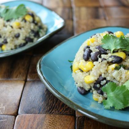 Quinoa Black Bean Salad with Cilantro and Corn