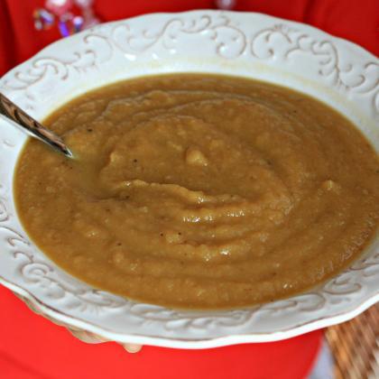 Simple roasted root soup, parsnips, sweet potatoes, turnips, celery root