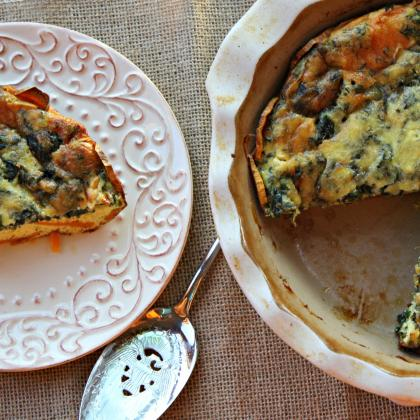 Sweet Potato Crustless Quiche with spinach, fresh herbs and cheese