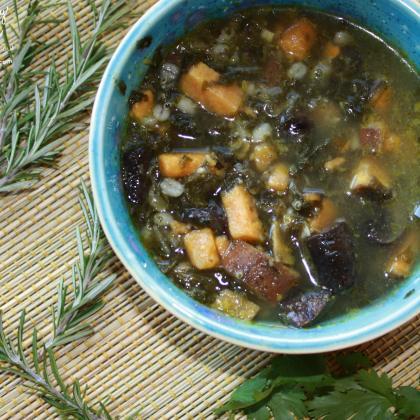 Winter Wellness Soup--sweet potatoes, kale, garlic, mushrooms, parsley, rosemary and more!