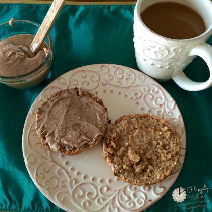 Ezekiel English Muffin, Almond Butter, Grassfed butter and Coffee