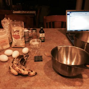 Early morning preparations for gluten free banana muffins