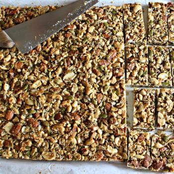 Dark Chocolate Toasted Seed-n-Nut Bars~Baked and sliced
