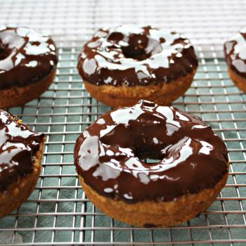 Pumpkin Donuts with Dark Chocolate Glaze (grain and gluten free)