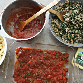 Spinach, Mushroom and Sausage Mostaccioli