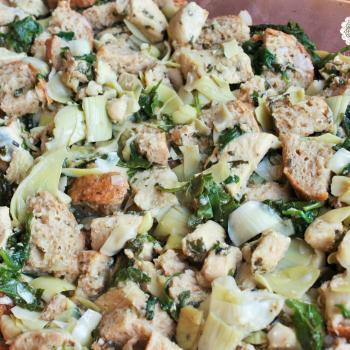 Chicken, spinach, artichoke bread pudding