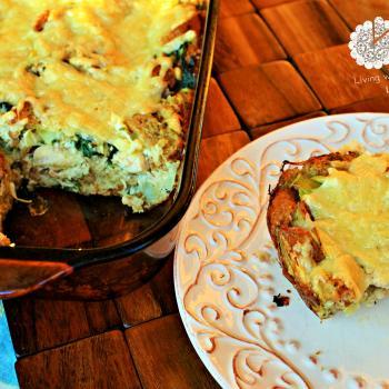 Chicken, artichoke, spinach bread pudding