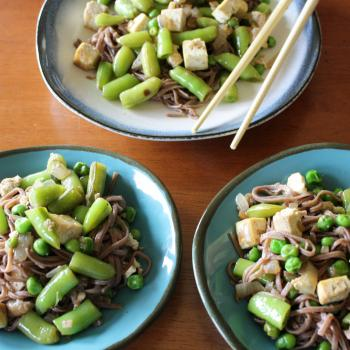 Spring Pea and Tofu Stir Fry with Soba Noodles