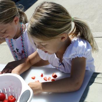 Girls chopping strawberries