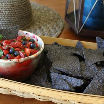 Strawberry Salsa with cilantro and blueberries