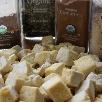 Tofu, cubed and sauteed