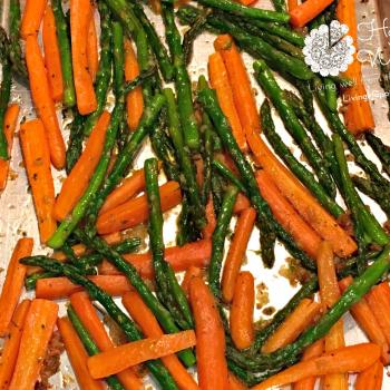 Garlic and Ghee roasted carrots and asparagus