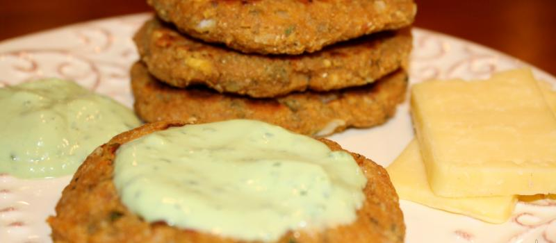 Sweet Potato, Chick Pea Patties with Avocado Dip