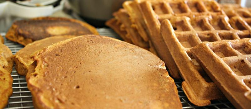 Whole Grain Pumpkin Waffles and Pancaakes