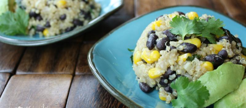 Quinoa Black Bean Salad with Cilantro and Corn
