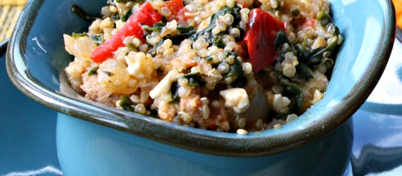Southwest, stovetop quinoa and sausage