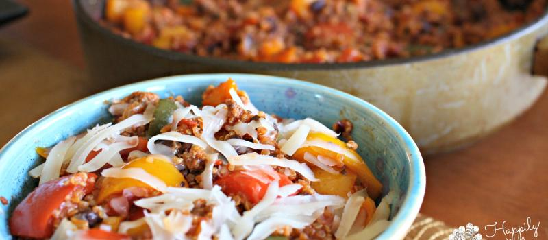 Unstuffed Peppers, gluten free, high protein, grassfed beef, quinoa, beans