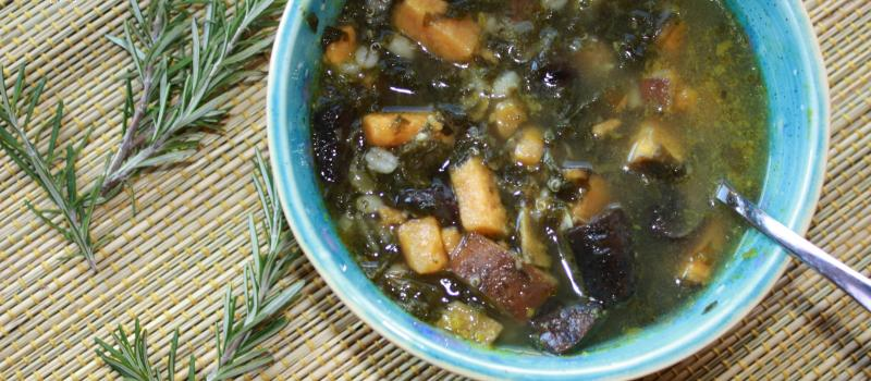 Winter Wellness Soup--sweet potatoes, kale, garlic, mushrooms, parsley, rosemary and more!