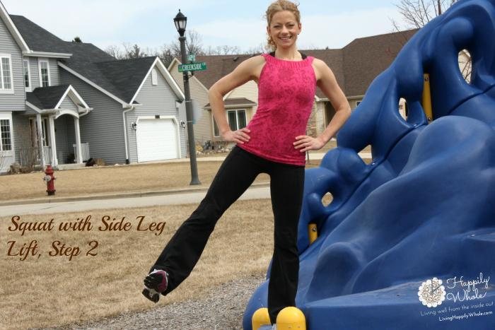 Squat with Side Leg Lift Step 2