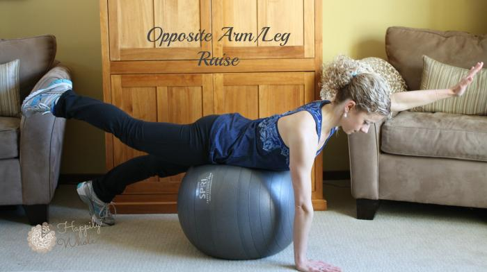 Opposite Arm Leg Raise on Stability Ball